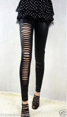 Fashion Leggings Legging Tights Pants Ripped Destroyed Black Wet Look Stretch