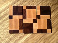 Wood Coasters Squares and Rectangles by 1337motif on Etsy, $55.00