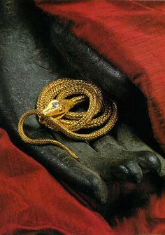 Hand woven serpent necklace by Lucie Heskett