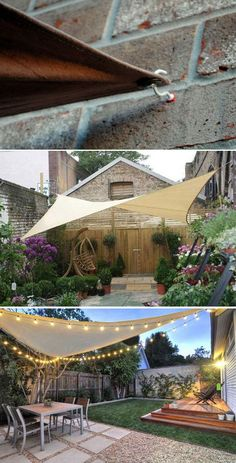 A SHADE SAIL CANOPY easily provides cool patio space with a beautiful look. To build it, just need three points up to four to secure the shade. Cup hooks and S hooks are also easy to get. garden ideas 10 Exciting DIY Ideas to Build a Shady Space for Patio Budget Patio, Diy Patio, Patio Table, Pergola Design, Patio Design, Garden Design, Small Backyard Design, Landscape Design, Sail Canopies