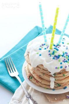 Lightened Up Birthday Cake Pancakes - Celebrate a birthday in style with these LIGHTENED UP Birthday Cake Pancakes!