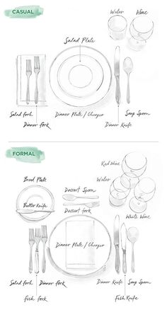 Every girl should know this // How To Set a Table: Illustrated Guide to Casual & Formal Entertaining