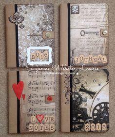 Altered Vintage Journals by Scrapbooking Sue. See more at http://scrapbookingsue.com/2015/10/28/altered-vintage-journals/