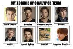 Justin Beiber goes down first... The rest survive because they are superwholock. And platypus