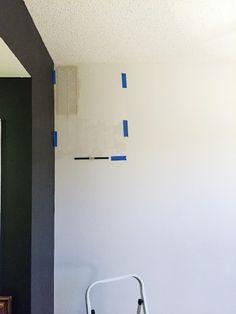 Stenciling a DIY accent wall in a home office using the Herringbone Stitch Stencil from Cutting Edge Stencils. http://www.cuttingedgestencils.com/herringbone-stitch-allover-pattern-wall-stencil.html