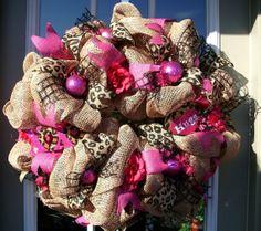 Buerlap mesh Valentines Days Wreath by LisasLaurels on Etsy, $106.00