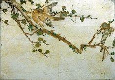 Verre Eglomise Sample: Japanese Bird & Blossom Trees. Reverse painting & oil gilding on glass by Timna Woollard Studio