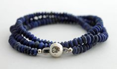lapis lazuli and sterling silver 3 wrap bracelet by The Spiral River, #rustic, #wedding, #handcut #mens #womens #unisex #necklace