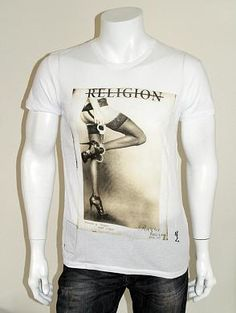 RELIGION Stilletto And Hand Cuff Print T Shirt