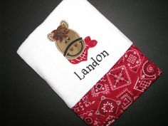 Personalized appliqued horse burp cloth by NanasCraftyCreations