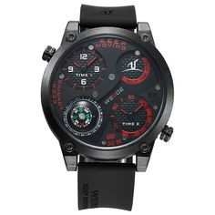 48.59$  Watch now - http://aliuem.shopchina.info/1/go.php?t=32809251995 - WEIDE MenWatches 2017 New Men's Military Sports Compass Function Multi Time Zone Silicone Watch Quartz Clock Montre Male Relogio  #buymethat