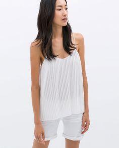 Zara White Pleated Strappy Blouse