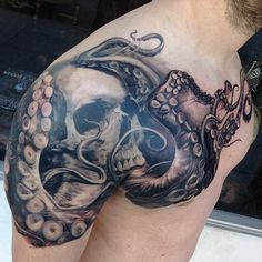 Tattoo by Carlos Torres #tentacles #skull