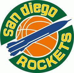 NBA San Diego Rockets Primary Logo (1968) - A blue rocket on a basketball in the middle of a green ring with the team name in gold
