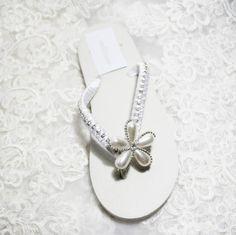 Bianco Avorio Pearl Fiore Strass Flatform / Cuneo Tacco Antiscivolo Scarpe Eva Beach Wedding Spiaggia Flip