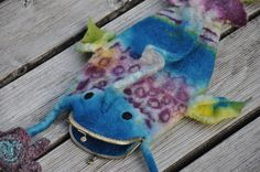 wonderful fish fun bag-piece of felted art-handpainted