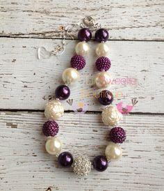 Eggplant purple and Ivory chunky necklace, girls jewelry, wedding jewelry, children's necklace, bubblegum jewelry, bubblegum necklace on Etsy, $25.00