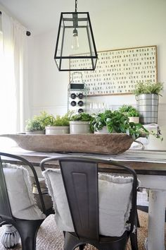 Farmhouse dining room table & decorating ideas (74)