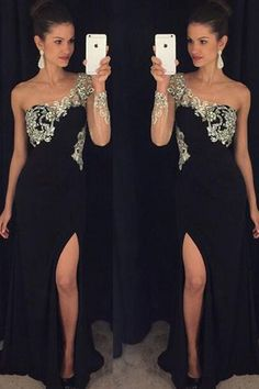 Prom Dress Beautiful, A-Line One-Shoulder Long Sleeves Black Prom Dress with Beading, Discover your dream prom dress. Our collection features affordable prom dresses, chiffon prom gowns, sexy formal gowns and more. Find your 2020 prom dress Prom Dresses Long With Sleeves, Black Prom Dresses, Lace Evening Dresses, Bridesmaid Dresses, Dress Prom, Dress Long, Wedding Dresses, Event Dresses, Party Dresses For Women