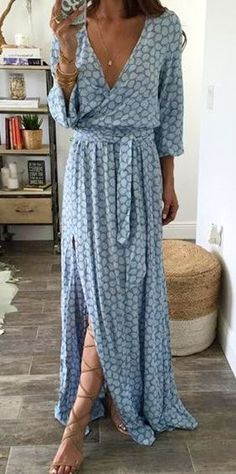 Blue Printed Maxi Dress & Laced Up Sandals #Summer #Fashion #Trends #Outfits