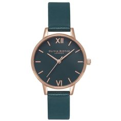 Olivia Burton Midi Dial Teal Dial Watch - Teal & Rose Gold (€95) ❤ liked on Polyvore featuring jewelry, watches, red gold jewelry, olivia burton, rose gold jewellery, dial watches and pink gold jewelry