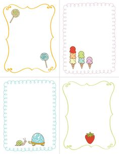 Cute Free Printable with Turtles, Ice Cream, Lollypop and Strawberries