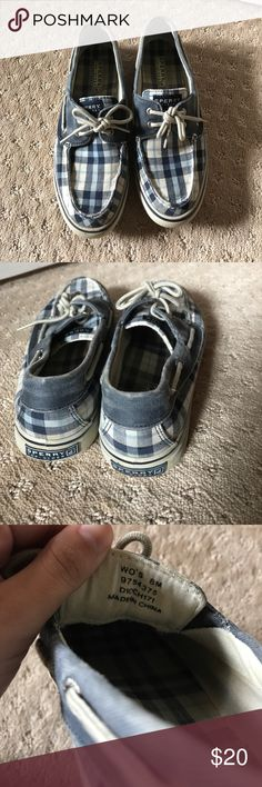 Sperry Top-Sider slip ons Blue, navy, white plaid patterned Sperry's, size 8, comfy and great condition! Sperry Shoes Flats & Loafers