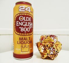 """Beer Can Origami - Old English """"800"""" - Upcycled Recycled Repurposed. $50.00, via Etsy."""