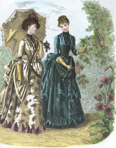 Left: Seaside toilette. Right: Toilette of surah and faille francaise. No.31, August 1, 1886. in Elegant French Fashions of the Late Nineteenth Century, ed. JoAnne Olian, 103 Costumes from La Mode Illustree, 1886,