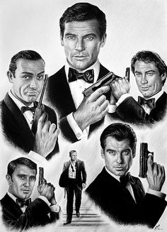 """Licence to kill"" James Bond tribute to all the bonds. graphite drawing on canford card. 20x29"