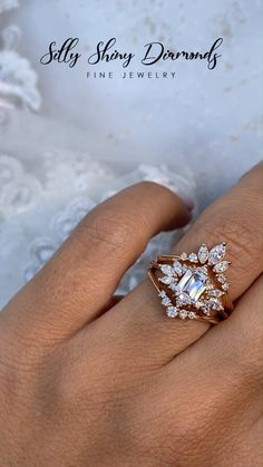 Emerald cut Moissanite Wedding Two Ring Set , Spark & Golden Snitch Fantasy Jewelry, Jewelry Art, Jewelry Rings, Fine Jewelry, Emerald Cut Moissanite, Moissanite Diamonds, Mod Wedding, Wedding Bands, Wedding Stuff
