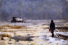 Boy with Sled in a Winter Landscape Franz Marc - circa 1902