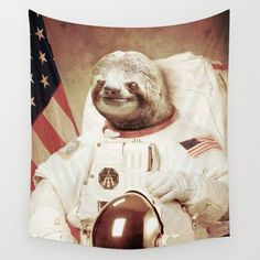 Wall Tapestry featuring Sloth Astronaut by Bakus