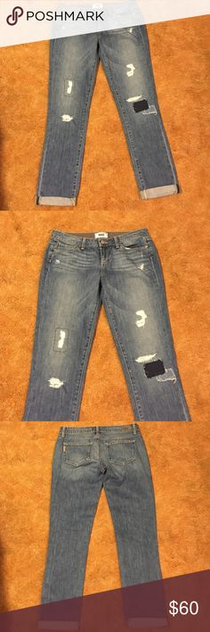 PAIGE Jimmy Jimmy Skinny distressed jeans Very cool PAIGE Jimmy Jimmy Skinny Distressed jeans. Broke in- excellent condition. 100 percent cotton. These run big for their size at a 28 inch waist- fit a size 6 and still have that baggy fit. Paige Jeans Jeans Skinny