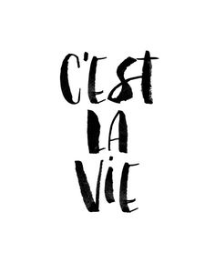 C'est La Vie Watercolor Black and White Typography Poster Art Print