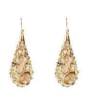 ALEXIS BITTAR | Golden Druzy Droplet Tear Drop Earrings