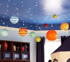Hang planets from the ceiling (either manufactured or student-made)
