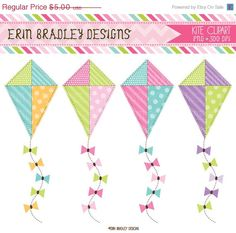 50 OFF SALE Kite Clipart Commercial Use Clip by ErinBradleyDesigns, $2.50