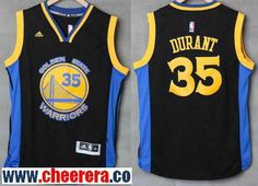 96ac6dce3 Men s Golden State Warriors  35 Kevin Durant Black With Blue Edge Stitched NBA  Adidas Revolution