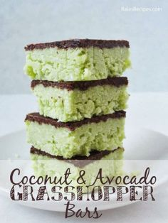 These Chocolate Mint Avocado Healthy Dessert Bars are no bake and come together in a flash. Plus they're paleo and a vegan dessert and sugar-free too.