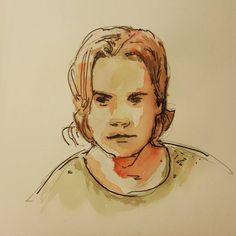 Все те же акварель и шариковая ручка.  #drawing #illustration #watercolor #portrait #sketch #pencil #sketchbook #art #artwork #painting #eskiz #портрет #рисунок #карандаш #набросок #эскиз #акварель