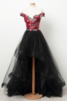 Custom Made Magnificent Black Prom Dresses, Black Sweetheart High Low Tulle Prom Dress, Black Tulle Evening Dress Prom Dress Black, High Low Prom Dresses, Cheap Evening Dresses, Black Evening Dresses, Tulle Prom Dress, Cheap Prom Dresses, Modest Dresses, Elegant Dresses, Pretty Dresses