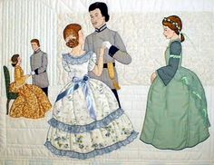 "#3 ""Civil War Series""  Last Waltz Pattern $13.50.   Lillian watches as Carlotta and Palmer say goodbye in a last waltz.  William and Barbara say their farewells in the background. Appliquéd silk ribbon embellishes the dresses. Quilting and shadow appliqué outline the walls."