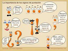 Los signos de puntuación:  punto, coma, punto y coma, puntos suspensivos, signos de interrogación, signos de exclamación, dos puntos.  www.practiquemos.com  www.facebook.com/PRACTIQUEMOS