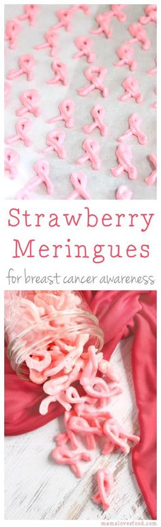 Strawberry Meringue Cookies for Breast Cancer Awareness