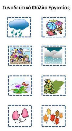 Δραστηριότητες, παιδαγωγικό και εποπτικό υλικό για το Νηπιαγωγείο: Μικρός εικονογραφημένος πίνακας αναφοράς για τις 4 εποχές του χρόνου Autumn Activities, Calendar, Weather, Seasons, Education, Fall, Crafts, Autism, Vocabulary