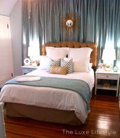 guest bedroom drapery wall