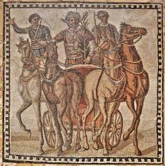 Mosaico con cuadriga de la Factio Russata - Procedente de Roma, Museo Arqueológico Nacional, Madrid
