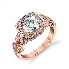 Parade Design Lyria Bridal Scroll Leaf Design Halo Diamond Ring