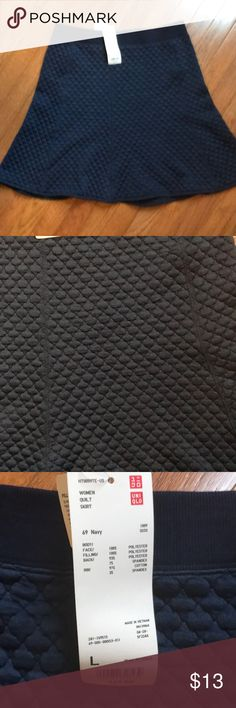 """NWT Super Cute UNIQLO Quilted Skirt This Super Cute Navy quilted Skirt is NWT! Has an elastic waist for an easy and comfortable f!t! Waist fits 30-32"""" Uniqlo Skirts"""